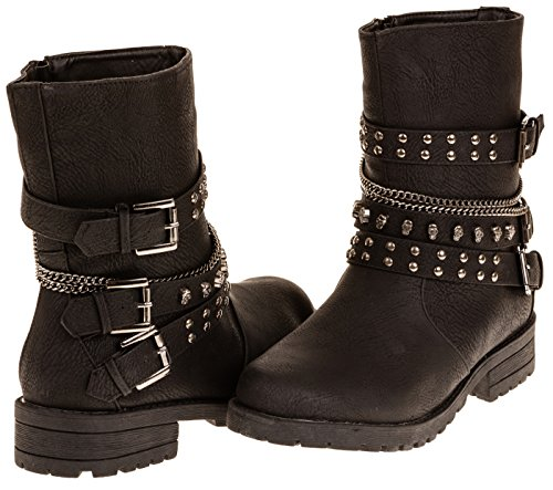 Jump Footwear Women's Fashion Studded Chain Moto Boot (Wide Width) (See More Sizes)