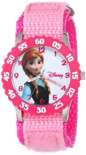 "Disney Kids' W000968 ""Frozen Anna Time Teacher"" Stainless Steel Watch With Pink Nylon Strap"