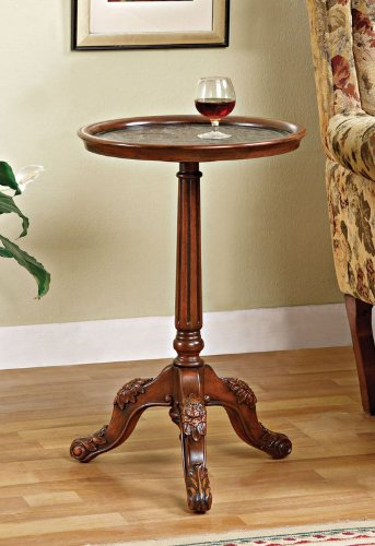 Cheap Accent End Table with Acanthus Carved Tripod Base in Medium Mahogany Finish (AZ00-46959×19897)