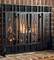 Large Beveled Glass Diamond Fireplace Sc...