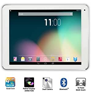 Dragon Touch Quad Core Tablet PC, Google Android 4.2 Jelly Bean, Cortex A9 CPU, 2GB RAM, 16GB Flash, IPS 10-Point Multi-Touch Screen 1900x1200, Dual Camera, Bluetooth 4.0, Google Play Pre-Installed, HDMI Output, 3D Game Supported, Platinum Series 2014 New Arrival [By TabletExpress] (1. 9.7'' White)