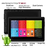 "ProntoTec 7"" Android 4.2 Tablet PC, Cortex A8 1.2 Ghz Dual Core Processor,512MB / 4GB,Dual Camera,HDMI,G-Sensor (Black)"