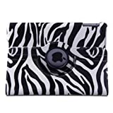 TOPCHANCES Black Special Designed Black Zebra Pattern Folding Case for iPad 5 Air (5th Gen) Tablet (With Smart Cover Auto Wake / Sleep and 360 Degree Rotating Stand)