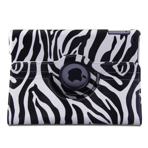 Generic Zebra Stripes Pu Leather 360 Degree Rotating Stand Smart Protective Case Cover For 9.7 Inch Retina Md789Zp Ipad Air / Ipad 5 Ipad Airwlan + Cellular (3G/4G) Ipad Airwlan (Wi-Fi)With A Stylus As A Gift (Supports Auto Sleep/Wake Function) (Black)