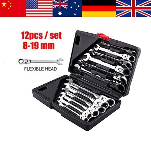 12Pcs Fixed Head Ratcheting Combination Spanner Wrench Sets Hand Tools Ratchet Handle Wrenches (Weed Steam Rollers compare prices)