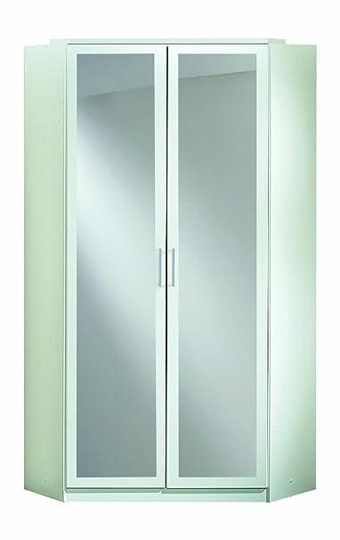 Wimex 147543 Eck-Kleiderschrank, 95 x 198 x 95 cm, 2-turig mit Spiegeln, Front und Korpus alpinweiß