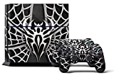 PS4 Designer Skin for Sony PlayStation 4 Console System plus Two(2) Decals for: PS4 Dualshock Controller - Widow Maker Chrome & Black