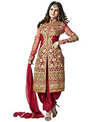 Samay Creation Red Net Embroidered Semi-stitched Sherwani Suit Dress Material