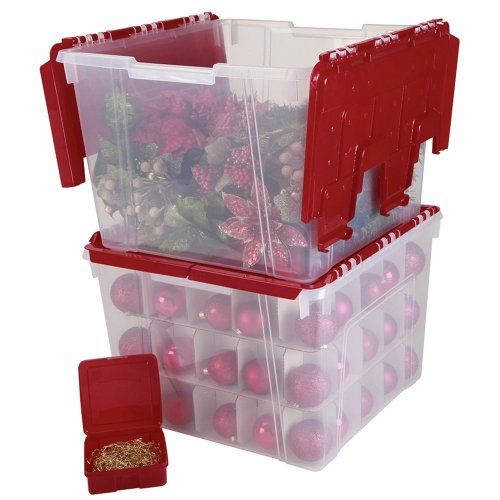 Of iris holiday wing lid organizer set with 75 ornament iders