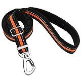 Dog Leash, Itery Reflective Nylon Dog Training Leash with Padded Handle, Adjustable Length 3.4-5.8 Feet (Orange)
