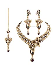 I Jewels Traditional Unique Flower Design Gold Plated Kundan Necklace Set With Maang Tikka For Women(Purple &...