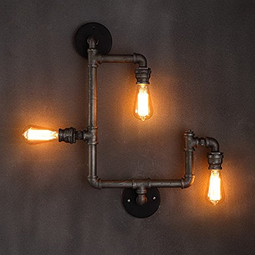 onepre vintage industrial steampunk wall light fixtures 3 lights pipe wall lamp sconce for d. Black Bedroom Furniture Sets. Home Design Ideas