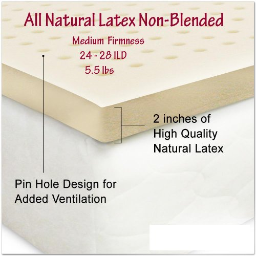 All Natural Latex Non Blended Mattress Topper With Preferred Medium Firmness 2 Inch Thick - Twin Xl