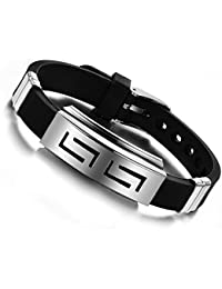 Felvy Stainless Steel And Silicon Black Silver Wristband Cuff & Kadaa Bracelet With Adjustable Strap For Men And...