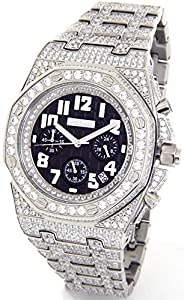 JOJINO 28.00ct Simulated Diamond Watch Mens AP 'Bust Down' Silver Tone Case Iced Out Metal Band MJ8026