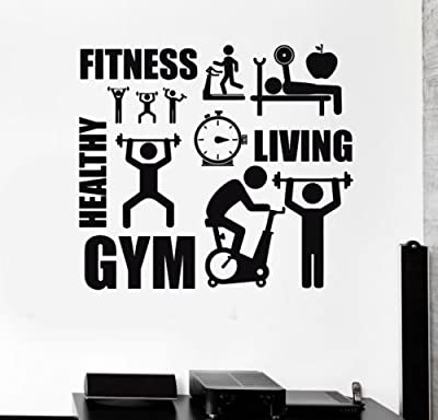 2016 NEW Hot Sell Sport Motivation Fitness Gym Wall Stickers Healthy Living Bodybuilding Exercise Posters Wall Decals For Kids Room Mural