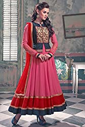 Shree Khodal Girls's Pink Georgette Traditional Dress Material [AF13(SK_N)]