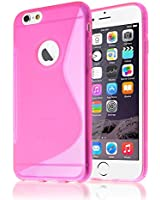 Connect Zone® iPhone 5C S Line Silicone Gel Case Cover With Screen Protector And Polishing Cloth (Pink)
