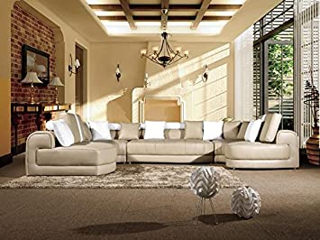 5pc Modern Contemporary Sectional Leather Sofa Set - AK-L408-LT