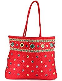 Women Cottage Red Cotton Border Patch Work Bag