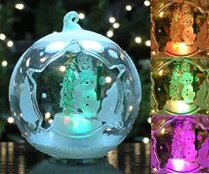 Amazon.com: Snowman and Christmas Tree Ornament Glass ...