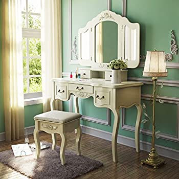 Tribesigns French Vintage Ivory White Vanity Dressing Table Set Makeup Desk with Stool & Mirror Bedroom