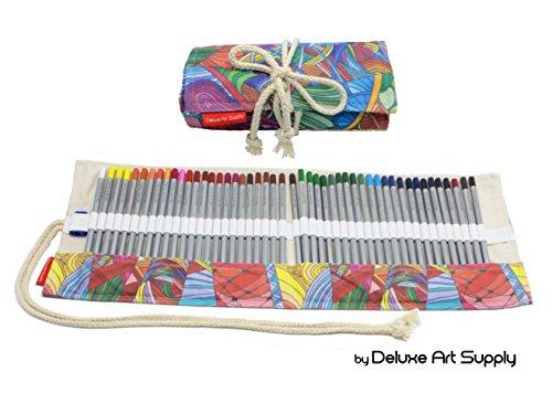 48 Colored Pencils Set - Artist Grade Soft Core Oil based Art Pencils in a Multicolored Canvas Roll Up Case