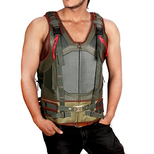 [Bane Vest Costume - The Dark Knight Rises Swedish Bomber Military Army Tactical Green Leather Jacket (XXXL, Green] (Dark Knight Rises Bane Costumes Sale)