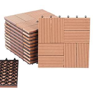 Caillebotis dalles de terrasse bois composite 11 dalles 1m motif 4 amaz - Dalles composite terrasse ...