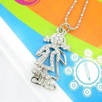 Crystalmood Girl Czech Crystal Rhinestone Silhouette Pendant Necklace