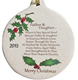 Father & Daughter 2015 Porcelain Christmas Ornament Rhinestone Crystal Accent