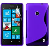 Zonewire® PURPLE WAVE GEL CASE COVER FOR NOKIA LUMIA 520 + SCREEN PROTECTOR