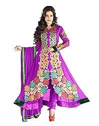 Lookslady Georgette Purple Women Clothing Semi Stitched Salwar Kameez Suit
