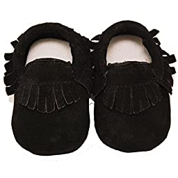 Baby Conda Handmade Black Suede Baby Moccasins * 100% Genuine Leather * Soft Sole Slip on Baby Shoes for Boys and Girls * 100% Money Back Guarantee Size 12 - 18 Months