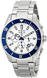 Bulova Men's 98B204 White Stainless Steel Watch with Link Bracelet