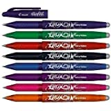 Pilot Frixion Rollerball Pen Mixed Colour Pack of 8 - ERASABLE - 0.7mm BL-FR7 INCLUDES: Blue, Green, Red, Black, Pink, Purple, Orange & Light Blue - 8 PENS