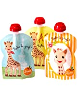 SQUIZ - lot de 3 gourdes réutilisables Sophie la Girafe 90ml - FABRICATION SUISSE