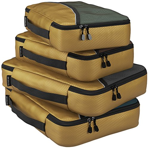 Packing Cubes for Travel Luggage Suitcase and Bags Organization – 4pc (Gold) Set Large and Medium Organizers Pouches for Protection and Compression of Multi Clothes Shoes and Accessories – (GOLD). image
