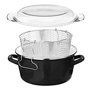 Premier Housewares 6 X 33 X 27 cm 5 L Deep Fryer with Pyrex Lid, Black