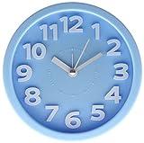 JustNile 3D Modern 5-inch Round Bedside Alarm Clock - Baby Blue