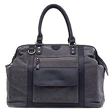 Kelly Moore Jude Canvas & Leather Multifunction Large Camera Shoulder Bag - Grey with Black Trim