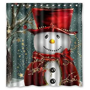 66 W X72 H Inch Waterproof Bathroom Christmas Snowman Shower Curtain Home Kitchen