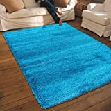 NEW THICK MODERN SHAGGY APOLLO RUG TEAL