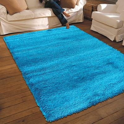 NEW THICK MODERN SHAGGY APOLLO RUG TEAL 1.33M X 1.9M