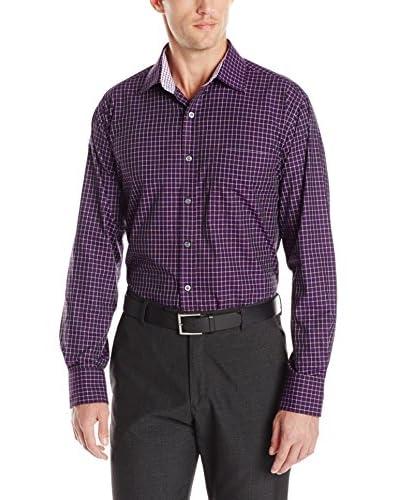 Alex Cannon Men's Long Sleeve Spread Collar Dobby Windowpane Shirt