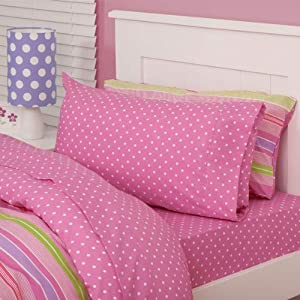 Just Kidding Spotty Pink Fitted Sheet & Two Pillow Cases Set, Pink, Double