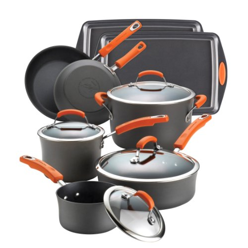 Rachael Ray Hard Anodized II Nonstick 12-Piece Set, Orange handles (12 Piece Nonstick Cookware compare prices)