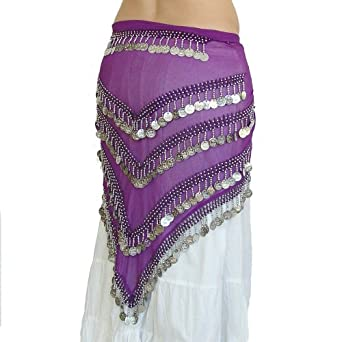 Belly Dance Coin Belt Hip Scarf, Purple Silver Four Row Triangle, Georgette Fabric