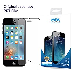 iPhone SE Papa Protect HD Clear Screen Protector | Pack of 3 Film Protectors | Original Japanese PET Film | True Touch | Perfect Fit | Scratch Protection | Unmatched Clarity | Bubble Free Application | Lifetime Warranty