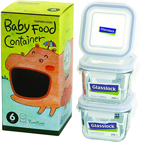 Glasslock 6-Piece Square Baby Box Set, Mini (Baby Food Storage Glass compare prices)